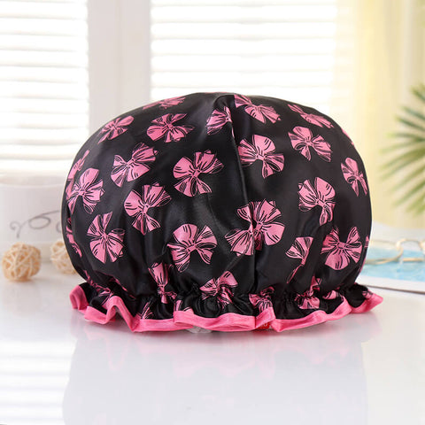 Shower cap (reusable) - Black with pink ribbons & pink edge