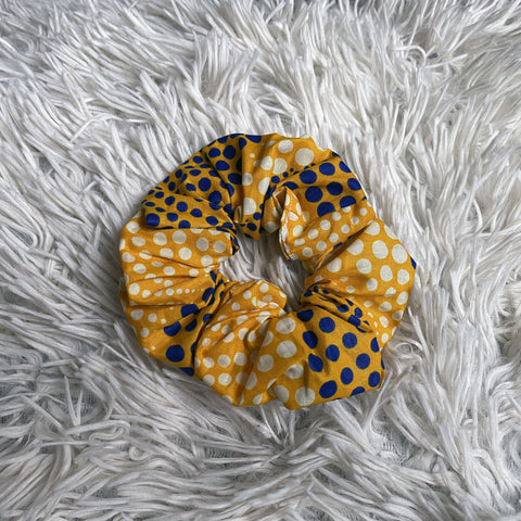 African print Scrunchie - Adults & Children Hair Accessories - Yellow with dots