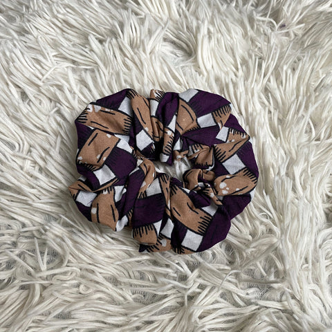 African print Scrunchie - Adults & Children Hair Accessories - Purple blocks