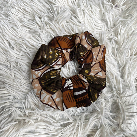 African print Scrunchie - Adults & Children Hair Accessories - Brown / beige