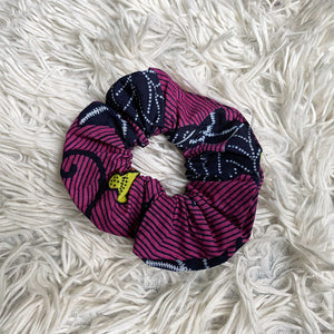 African print Scrunchie - Adults & Children Hair Accessories - Pink / Yellow