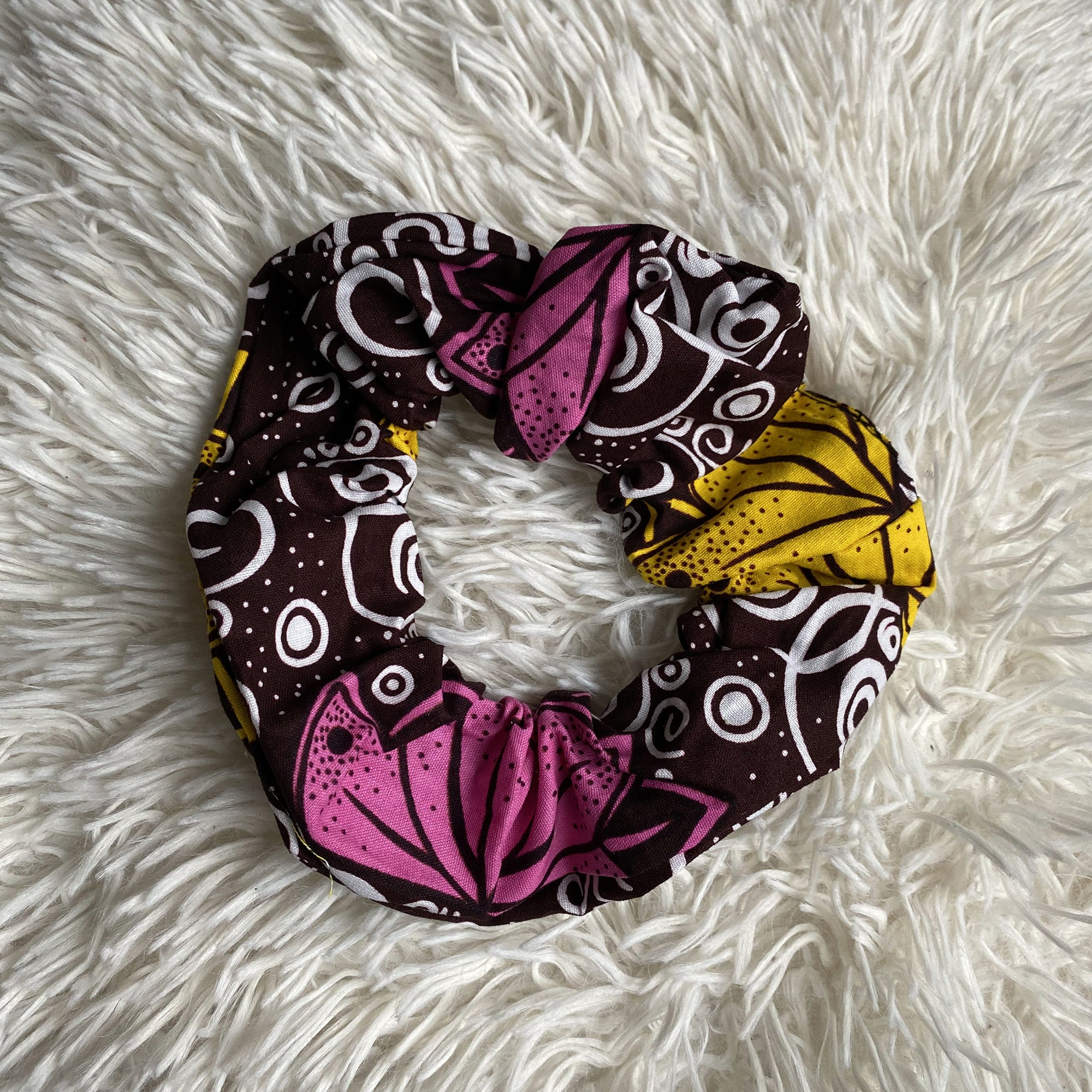 African print Scrunchie - XL Adults Hair Accessories - Yellow / pink
