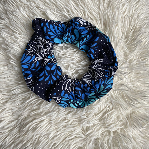 African print Scrunchie - XL Adults Hair Accessories - Blue / black