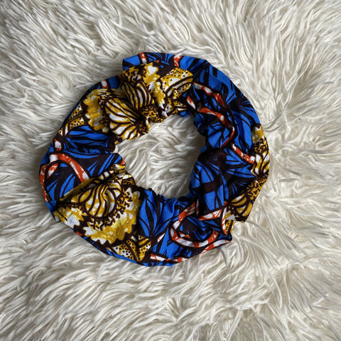 African print Scrunchie - XL Adults Hair Accessories - Blue / Mustard