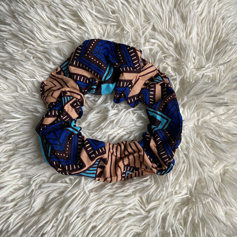 African print Scrunchie - XL Adults Hair Accessories - Cream / blue