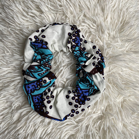 African print Scrunchie - XL Adults Hair Accessories - White / blue