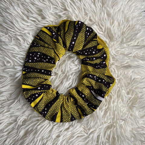 African print Scrunchie - XL Adults Hair Accessories - Yellow / black