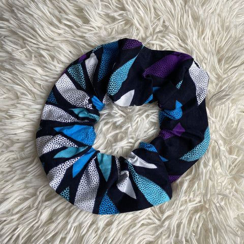 African print Scrunchie - XL Adults Hair Accessories - Blue / white / purple
