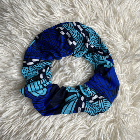 African print Scrunchie - XL Adults Hair Accessories - Light blue / donker blue