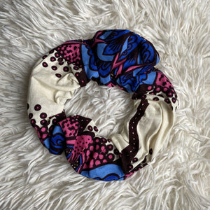 African print Scrunchie - XL Adults Hair Accessories - Blue / cream / pink