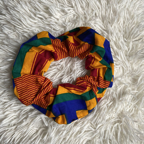 African print Scrunchie - XL Adults Hair Accessories - Kente Blue / yellow / red