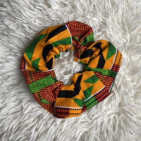 African print Scrunchie - XL Adults Hair Accessories - Kente Green / yellow