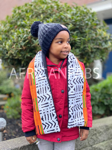 African print Winter scarf for Kids - White / Black bogolan with Orange kente