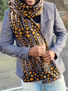 African print Winter scarf for Adults - Black mud cloth stripes
