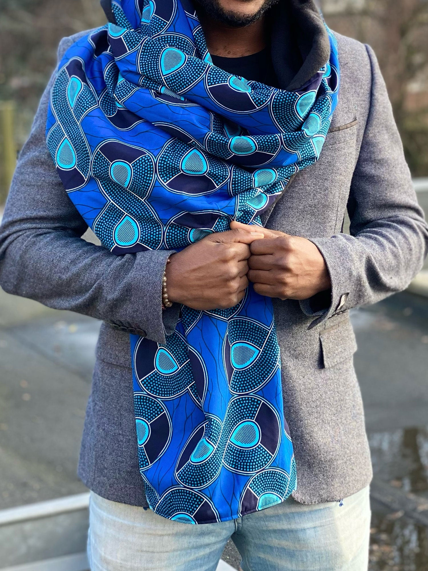 African print Winter scarf for Adults - Blue infinity