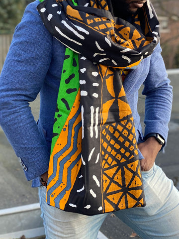 African print Winter scarf for Adults - Green mud cloth / bogolan