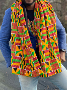 African print Winter scarf for Adults - Yellow / Green Kente