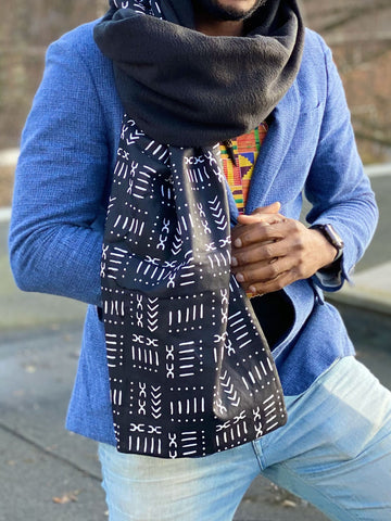 African print Winter scarf for Adults - Black mud cloth / bogolan