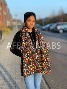 African print Winter scarf for Adults - Brown / Orange / Beige mud cloth / bogolan