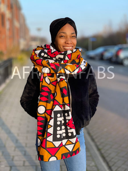 African print Winter scarf for Adults - Mustard Red Samakaka