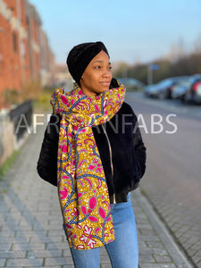African print Winter scarf for Adults - Mustard Pink leaftrail