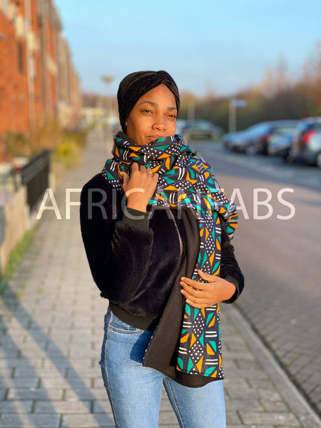 African print Winter scarf for Adults - Turquoise / yellow mud cloth / bogolan