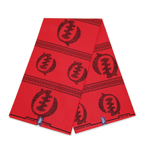 African Wax print fabric Blue / Mustardbrown circles