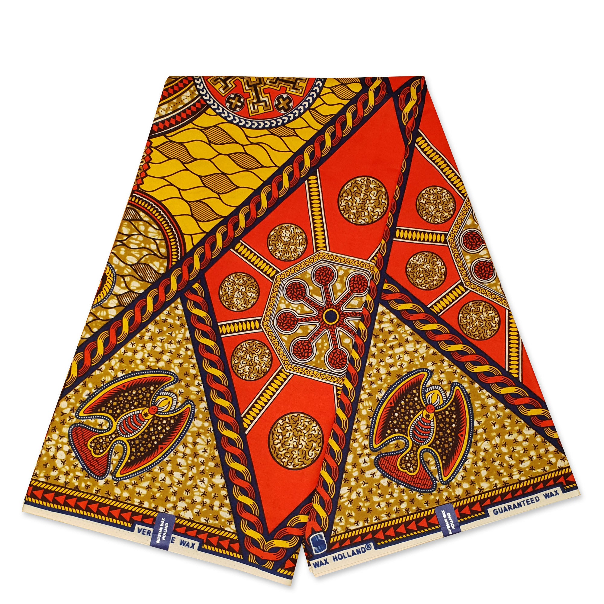 African Wax print fabric BLUE ORANGE MIXED STYLES
