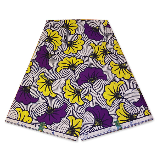 VLISCO Hollandais Wax print fabric - PURPLE WEDDING FLOWERS