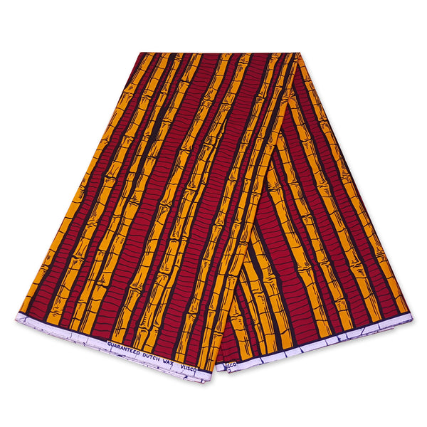VLISCO Hollandais Wax print fabric - RED / YELLOW SUGAR CANE PLANT