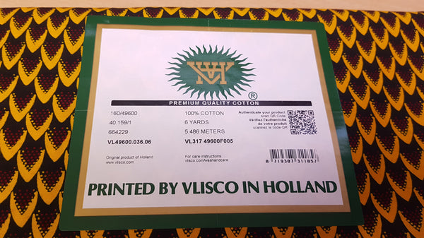 VLISCO Hollandais Wax print fabric - BRONZE BANGA NUT