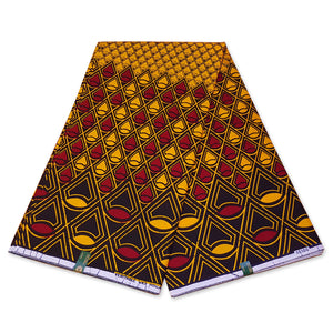 VLISCO Hollandais Wax print fabric - RED / YELLOW BANGA