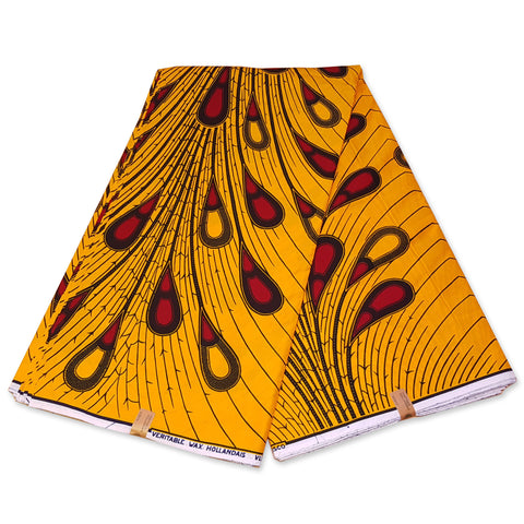 VLISCO Hollandais Wax print fabric - YELLOW / RED BULB