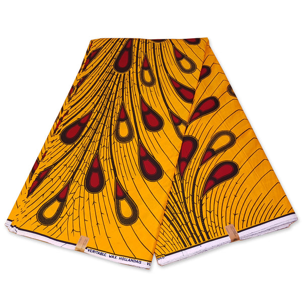 African headwrap - Yellow / red bulb (Vlisco)