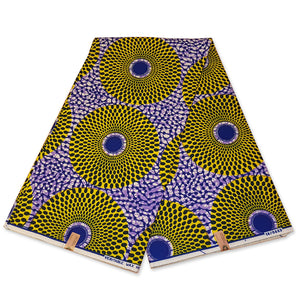 VLISCO Hollandais Wax print fabric - YELLOW / PURPLE RECORD