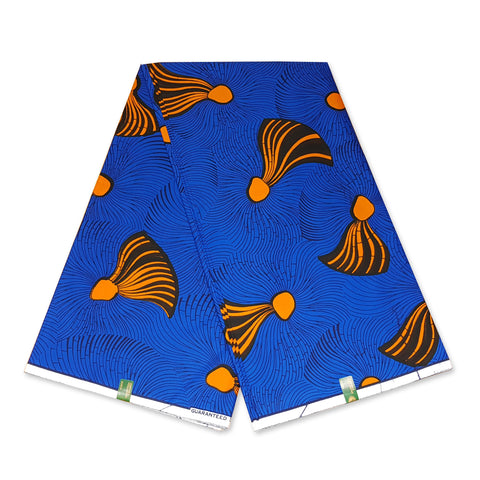 VLISCO Hollandais Wax print fabric - BLUE ORANGE FLAMES