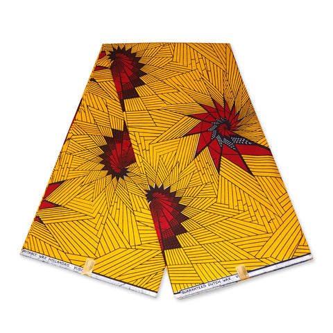 VLISCO Hollandais Wax print fabric - YELLOW / RED ENGINE