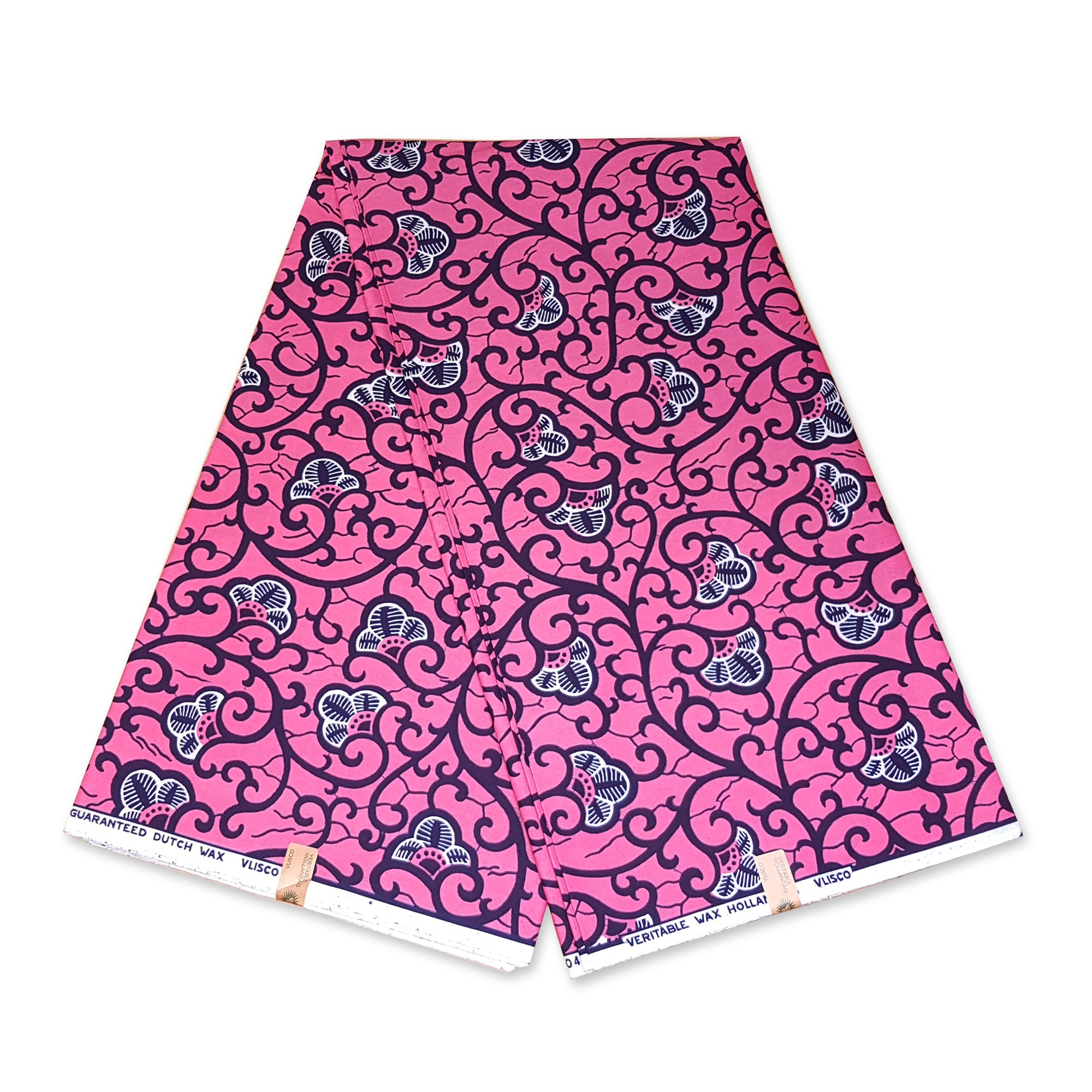 VLISCO Hollandais Wax print fabric - PINK BRANCH