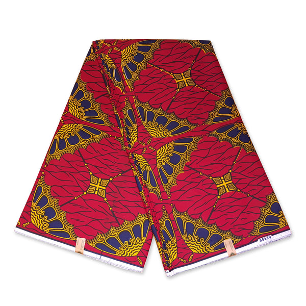VLISCO Hollandais Wax print fabric - RED UMBRELLA