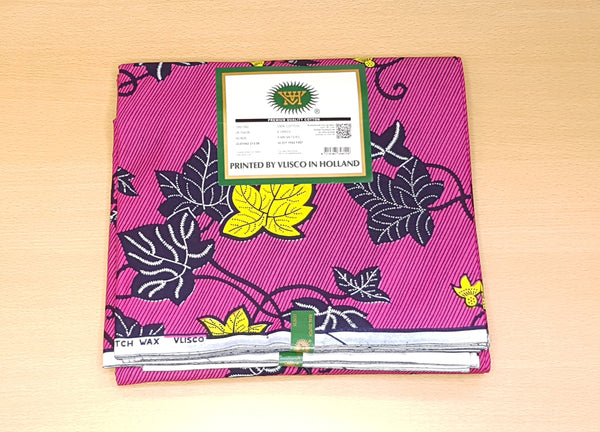 VLISCO Hollandais Wax print fabric - PINK YELLOW FLOWERTRAIL