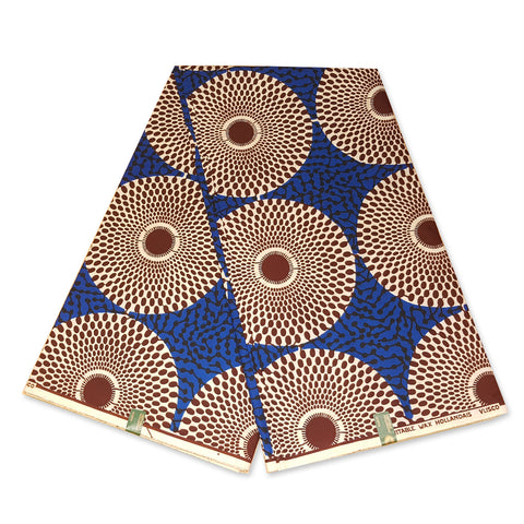 VLISCO Hollandais Wax print fabric - BLUE / WHITE RECORD