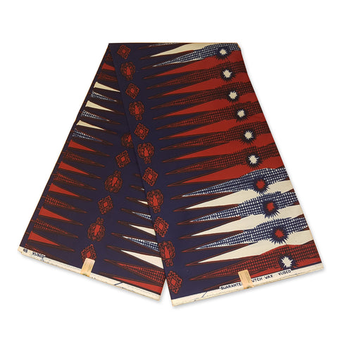 VLISCO Hollandais Wax print fabric - BLUE / RED / WHITE PENCIL