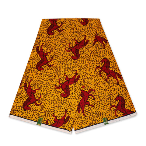 VLISCO Hollandais Wax print fabric - YELLOW / RED JUMPING HORSE