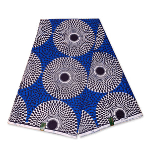 VLISCO Hollandais Wax print fabric - BLUE / WHITE / BLACK RECORD