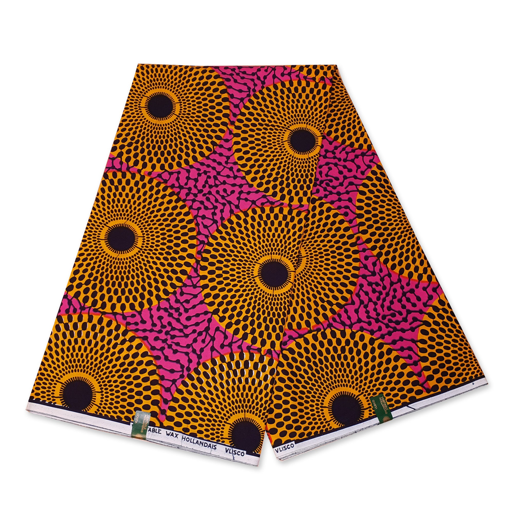 VLISCO Hollandais Wax print fabric - PINK / YELLOW RECORD
