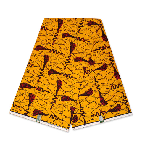 VLISCO Hollandais Wax print fabric - Yellow / Red Bottle opener