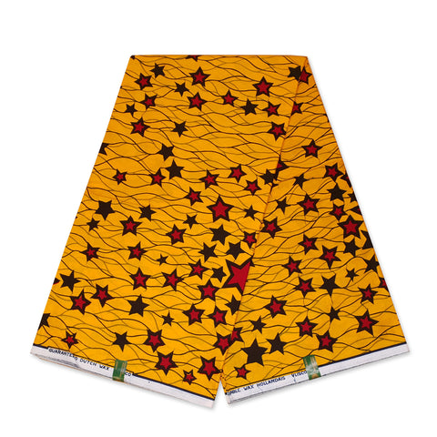VLISCO Hollandais Wax print fabric - Yellow / Red Stars