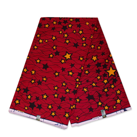 VLISCO Hollandais Wax print fabric - Red / Yellow Stars
