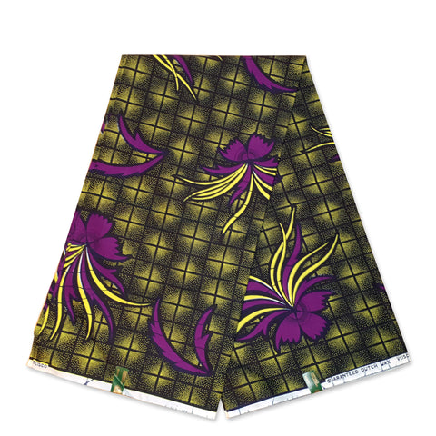 VLISCO Hollandais Wax print fabric - Green / Purple butterfly