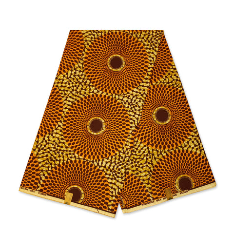VLISCO Hollandais Wax print fabric - ORANGE / MUSTARDYELLOW RECORD